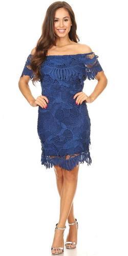 Royal Blue Off Shoulder Wedding Guest Dress Short