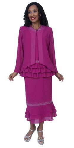 Hosanna 3953 Magenta Tea Length 3 Piece Plus Size Dress Set Ruffled Top