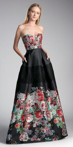 Black Printed Strapless Sweetheart Prom Gown with Pockets