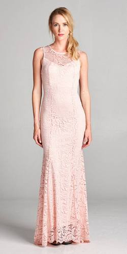 Illusion V-Neck Floor Length Lace Formal Dress Sleeveless Champagne