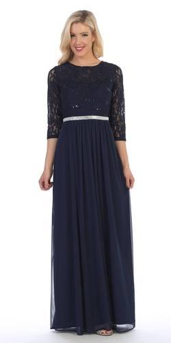 Navy Blue Three-Quarter-Sleeve Long Formal Dress A-line