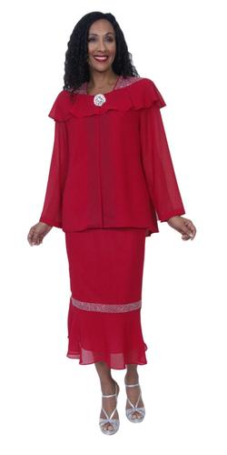 Hosanna 3976 Red Tea Length 3 Piece Plus Size Dress Set