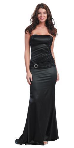 CLEARANCE - Sexy Black Strapless Elegant Formal Dress Satin Long Full (Size XS)