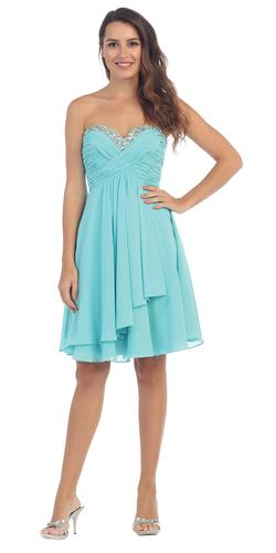 Chiffon Knee Length Semi Formal Dress Tiffany Blue Strapless