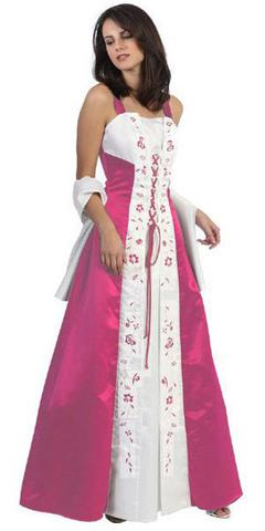 CLEARANCE - Fuchsia Prom Dress Cross Tie Medieval Fuchsia Dress