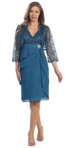 Short Formal Teal Blue Dress V-Neck Lace Chiffon 3/4 Sleeve Jacket
