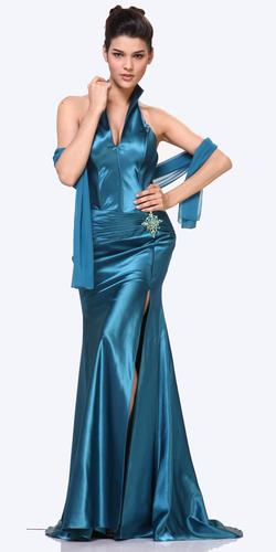 CLEARANCE - Teal Collar Halter Dress Satin Formal Open Slit Sexy (Size 2XL)