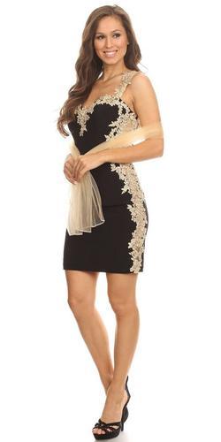Lace Applique Sweetheart Neckline Bodycon Short Prom Dress Black/Gold