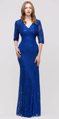 Royal Blue V Neck Sleeveless Floor Length Mermaid Formal Gown With Jacket