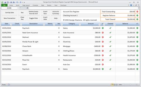 Excel Checkbook Register Spreadsheet – Buy Excel Templates