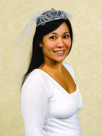 Rhinestone tiara w/ veil