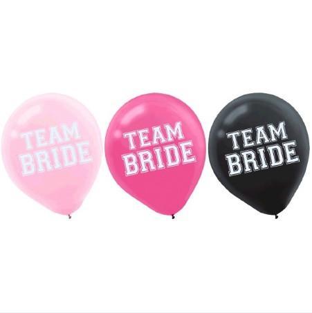 Team Bride Latex Balloons, 15 pk