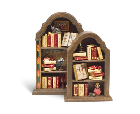 Miniature Wood Bookcase Ornament - Curved