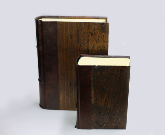 World's Thickest Handmade Wood Journal, featuring reclaimed wood cover and hand-cut pages