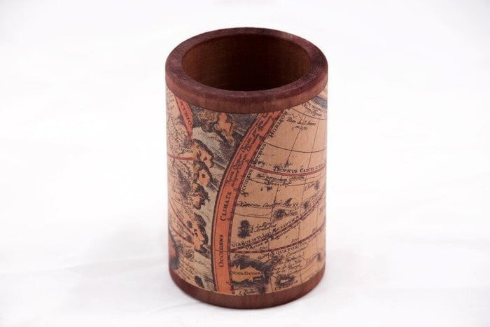Wood Pen/Pencil Cup, handwrapped with Olde World maps