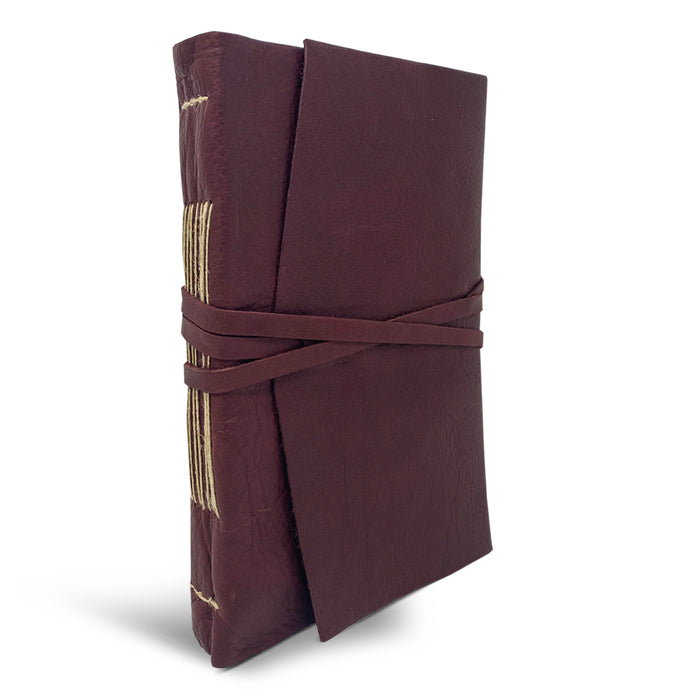 Italian Leather Wrap Journal featuring handmade Amalfi pages - bordeaux