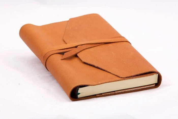 Refillable Handmade Leather Wrap Journal - camel
