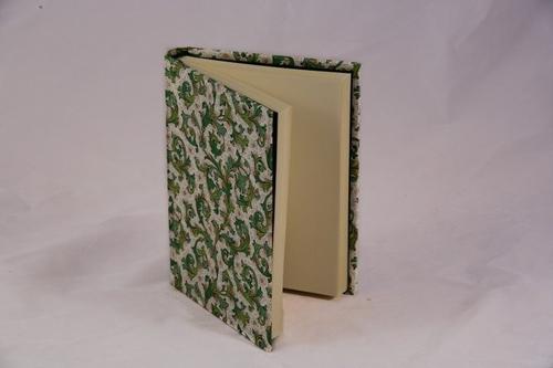Journal, handwrapped in Florentine pattern - green