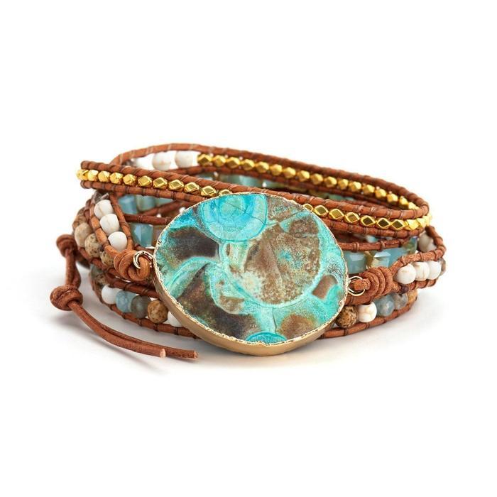 Hawaiian Ocean Jasper Leather Wrap Bracelet