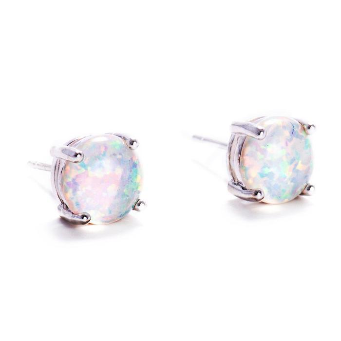 Sterling Silver Fire Opal Stud Earrings