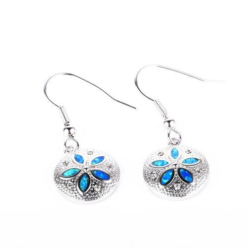 Blue Opal Sand Dollar Earrings