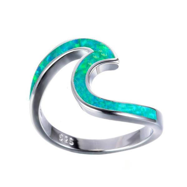 Emerald Sea Wave Ring