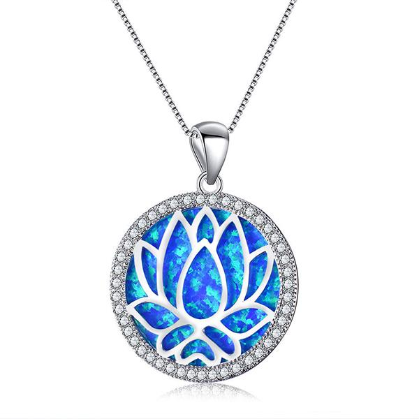 Opal Lotus Pendant