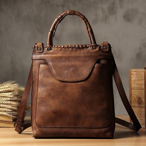 Handmade Vintage Brown Leather Messenger Bag Handbag Small Satchel WF03 df7d84f5a8c29