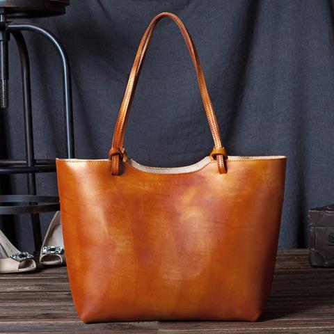 0a85154cc2 Handmade women fashion brown leather tote bag shoulder bag handbag shopper  bag C105