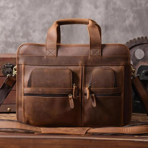 Handmade Genuine Natural Leather Luggage Bag Travel Bag 15   Laptop Bag  Men s Briefcase DZ11 59c3627a198fa