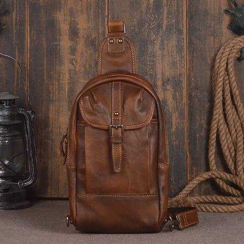 945dea3aa8 Handmade Men s Leather Messenger Outdoor Chest Bag Men Sling Shoulder Bag  in Vintage Brown 14132. Lisa bag