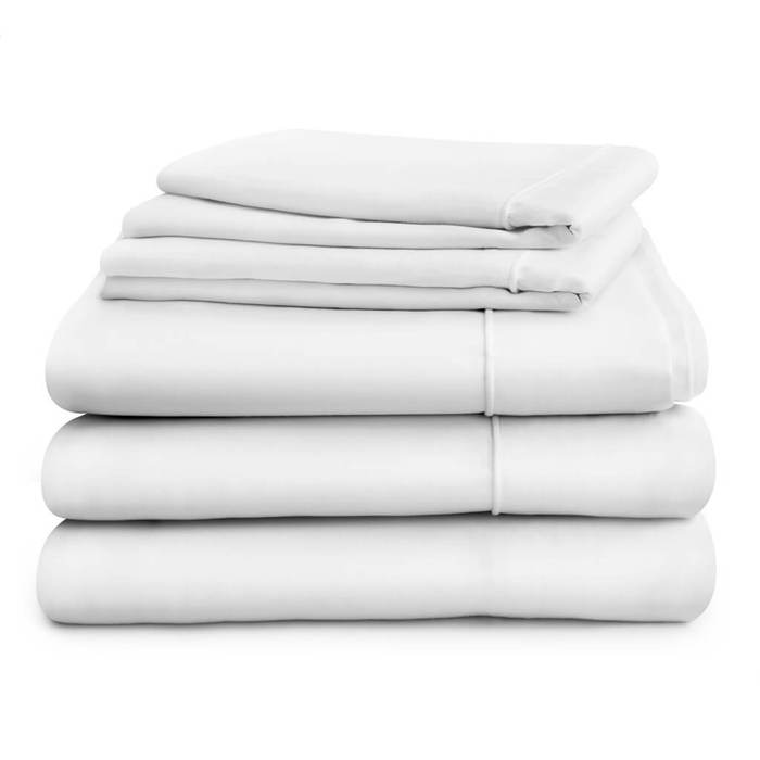 Hampton and Astley Long-Staple Cotton Sateen Luxury Duvet Cover, Deep Fitted Sheet and Two Pillowcases, Pure White
