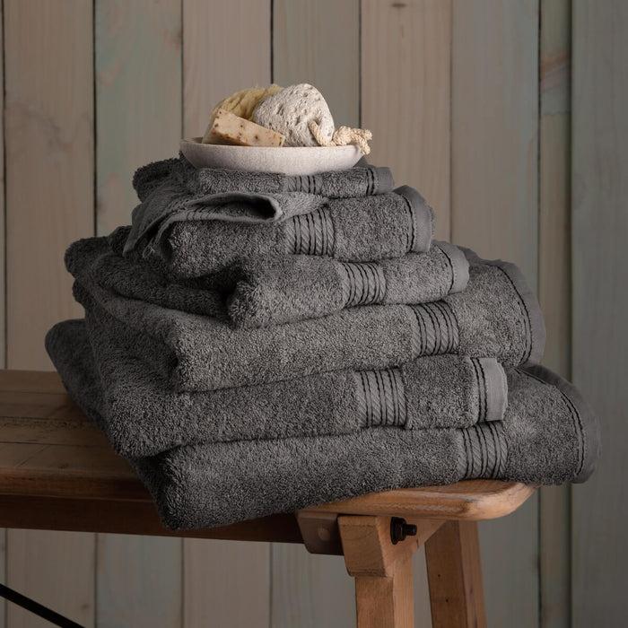 Hampton and Astley 100% Egyptian Cotton 7 Piece Luxury Bath Towel Set, Charcoal Dark Grey