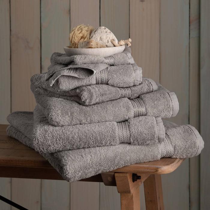Hampton and Astley 100% Egyptian Cotton 7 Piece Luxury Bath Towel Set, Subtle Grey
