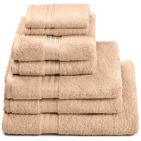 Hampton and Astley 100% Egyptian Cotton 7 Piece Luxury Bath Towel Set, Caramel Latte