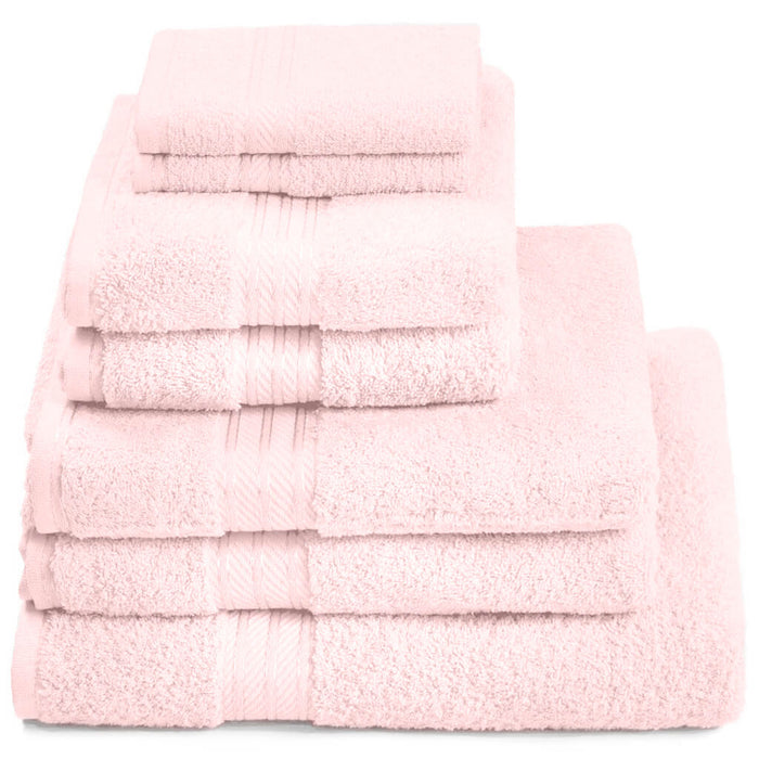 Hampton and Astley 100% Egyptian Cotton 7 Piece Luxury Bath Towel Set, Pink