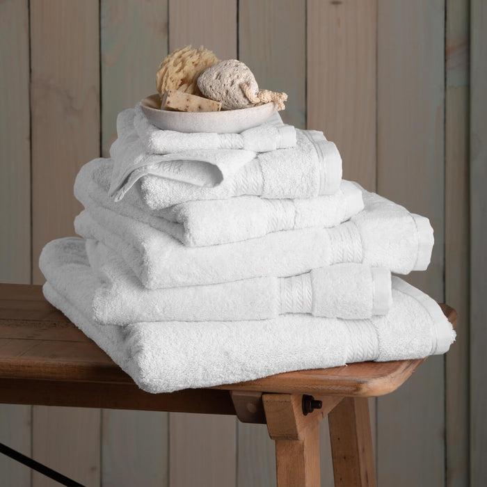 Hampton and Astley 100% Egyptian Cotton 7 Piece Luxury Bath Towel Set, Pure White