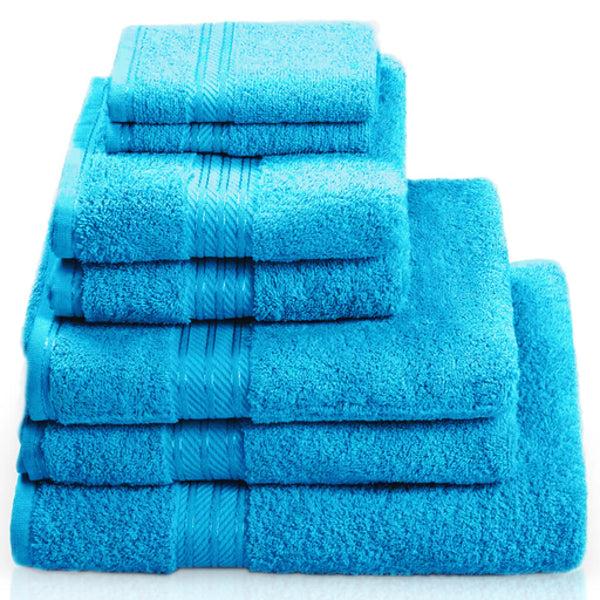 Hampton and Astley 100% Egyptian Cotton 7 Piece Luxury Bath Towel Set, Teal Blue