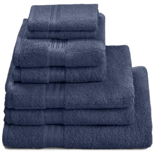 Hampton and Astley 100% Egyptian Cotton 7 Piece Luxury Bath Towel Set, Navy