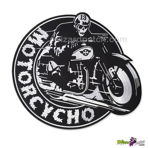 "MOTORCYCHO LARGE 11.5"" WIDE EMBROIDERED BACK PATCH"