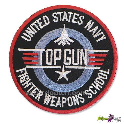 TOP GUN USN FIGHTER WEAPONS SCHOOL EMBROIDERED DISC PATCH
