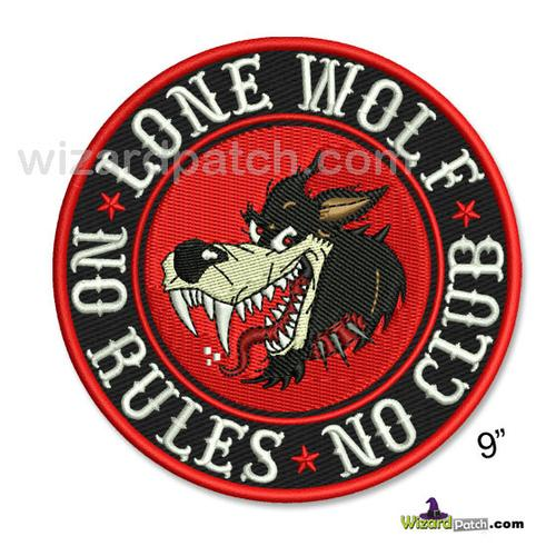 """LONE WOLF NO RULES NO CLUB 9"""" DISC PATCH"""