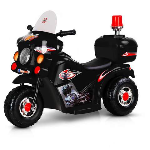 Kids Electric 6v Black 3-Wheel Ride-On Motorbike