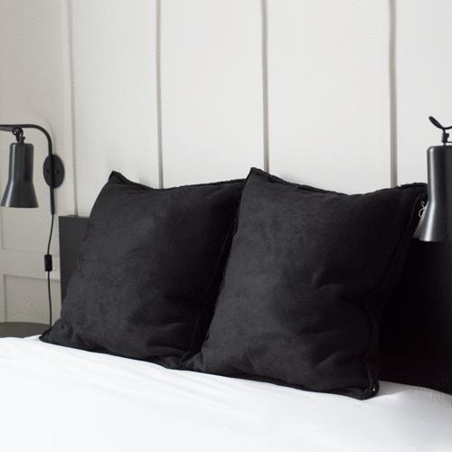 BLACK - Emerson Suede / Shearling Euro Pillowcase