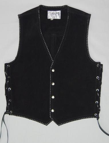 Black heavy weight suede laced vest, black whip-stitched, no seam front.