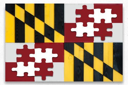 Maryland Autism Wood Flag