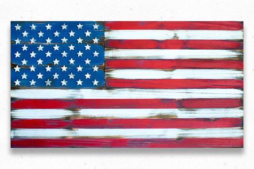 Custom American Vintage Wood Flag