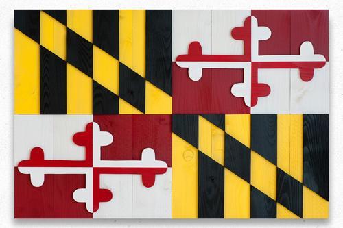 Maryland Wood Flag w/ Baltimore Skyline