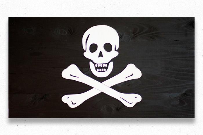Jolly Roger Wood Flag