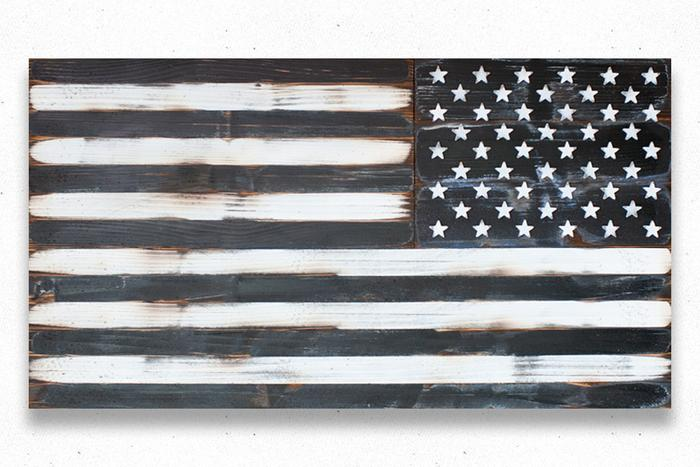 USA Assault Vintage Wood Flag